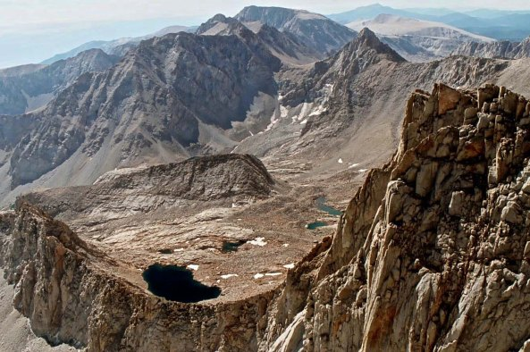 This photo looks north from Mt. Whitney into the heart of the High Sierras.