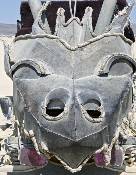 Close up of dragon headed mutant vehicle at Burning Man.