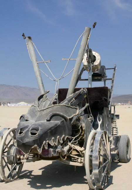 Dragon head on mutant vehicle at Burning Man.