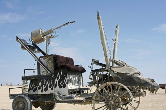 Burning Man mutant vehicle designed to shoot flames into the air.