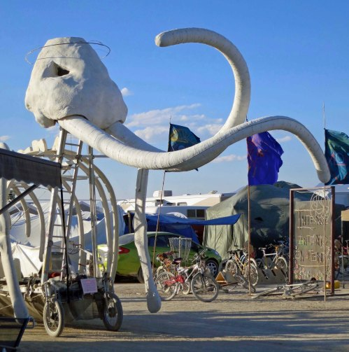 Head and tusks of mammoth at Burning Man.
