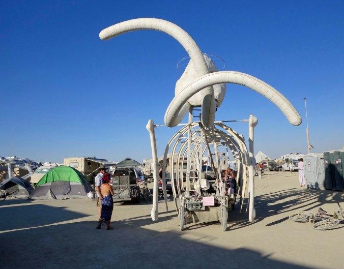 Head on view of mammoth art car at Burning Man.