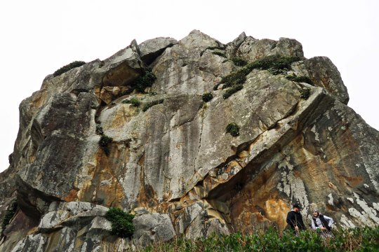 Massive rock face at Harris Beach State Park.