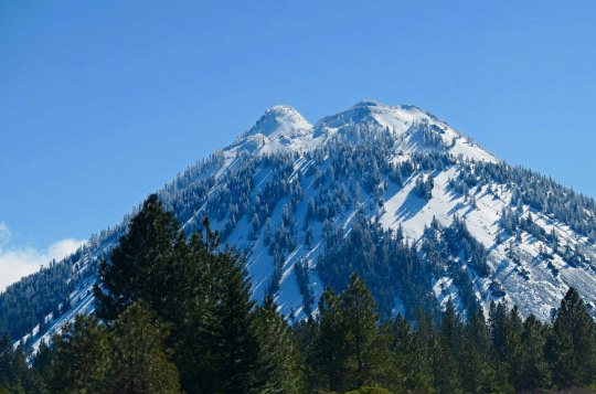Black Butte, which hangs out next to Mt. Shasta looking small was free from clouds. (Photo by Peggy.)