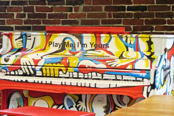 Some kids came by to play this piano while we were sitting in the market drinking coffee.