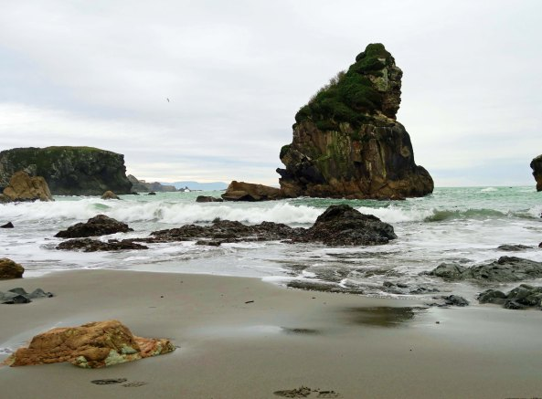 Photo of sea stack rock by Curtis Mekemson at Harris Beach State Park on the Pacific Ocean.