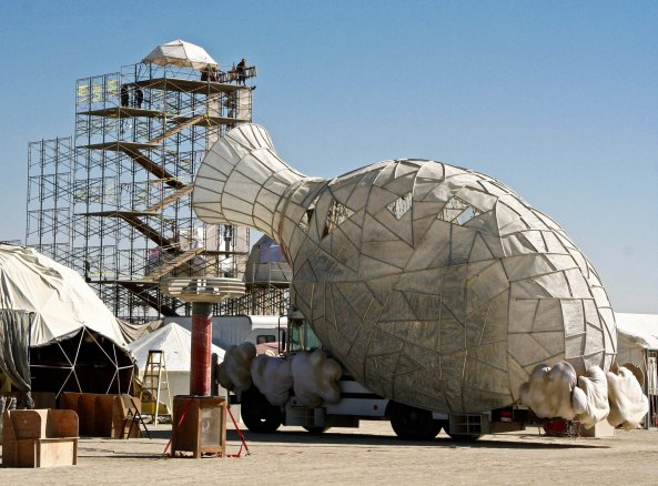 Mutant vehicle that looks like a vase at Burning Man.