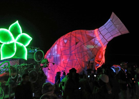 The mutant vehicle vase at night. This was on the night when the Man is burned and vehicles form a large circle around the Man.