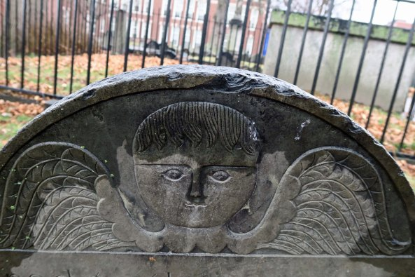 Later, a slightly more friendly cherub was allowed, including this one found in the Cobb's Hill Burial Ground.