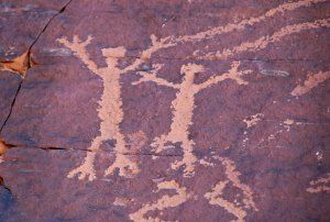 Petroglyphs on Atlatl Rock in Valley of Fire State Park, southern Nevada.