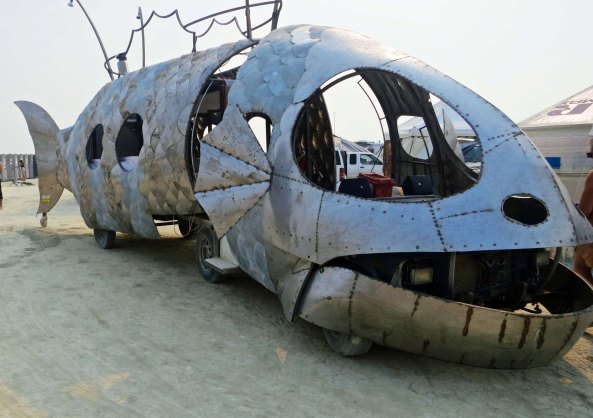 Articulated fish mutant vehicle at Burning Man.