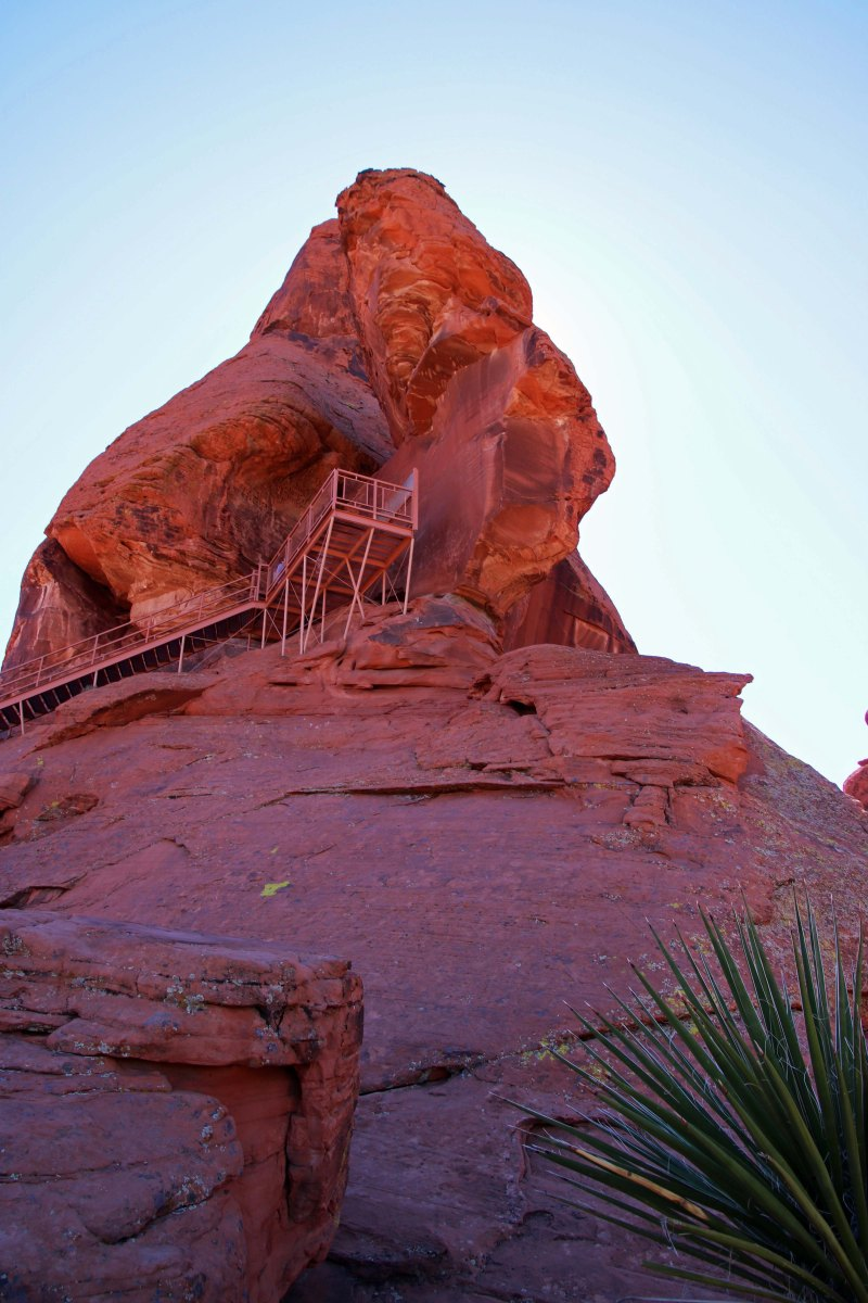 Viewing platform on Atlatl Rock at Valley of Fire State Rock in southern Nevada.