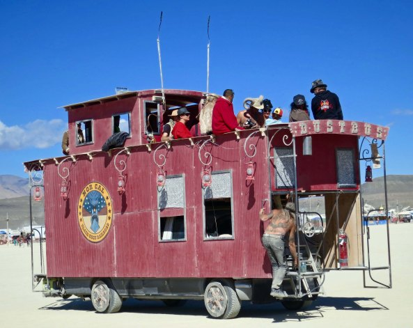 Caboose mutant vehicle at Burning Man.