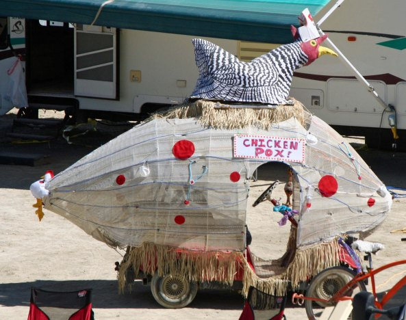Chicken Pox mutant vehicle at Burning Man.