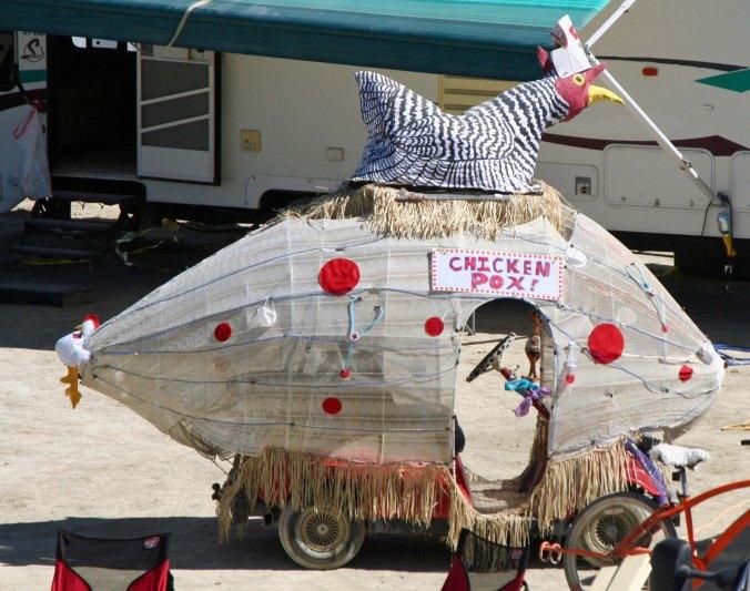 Chicken Pox mutant vehicle at Burning Man.