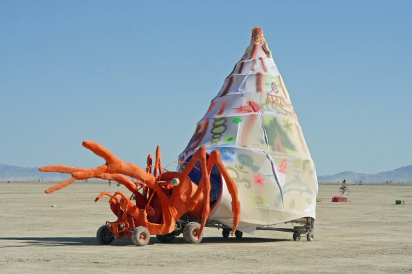 Crab with shell mutant vehicle at Burning Man.