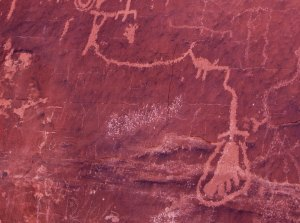 Foot petroglyph found on Atlatl Rock in Valley of Fire State Park, Nevada.