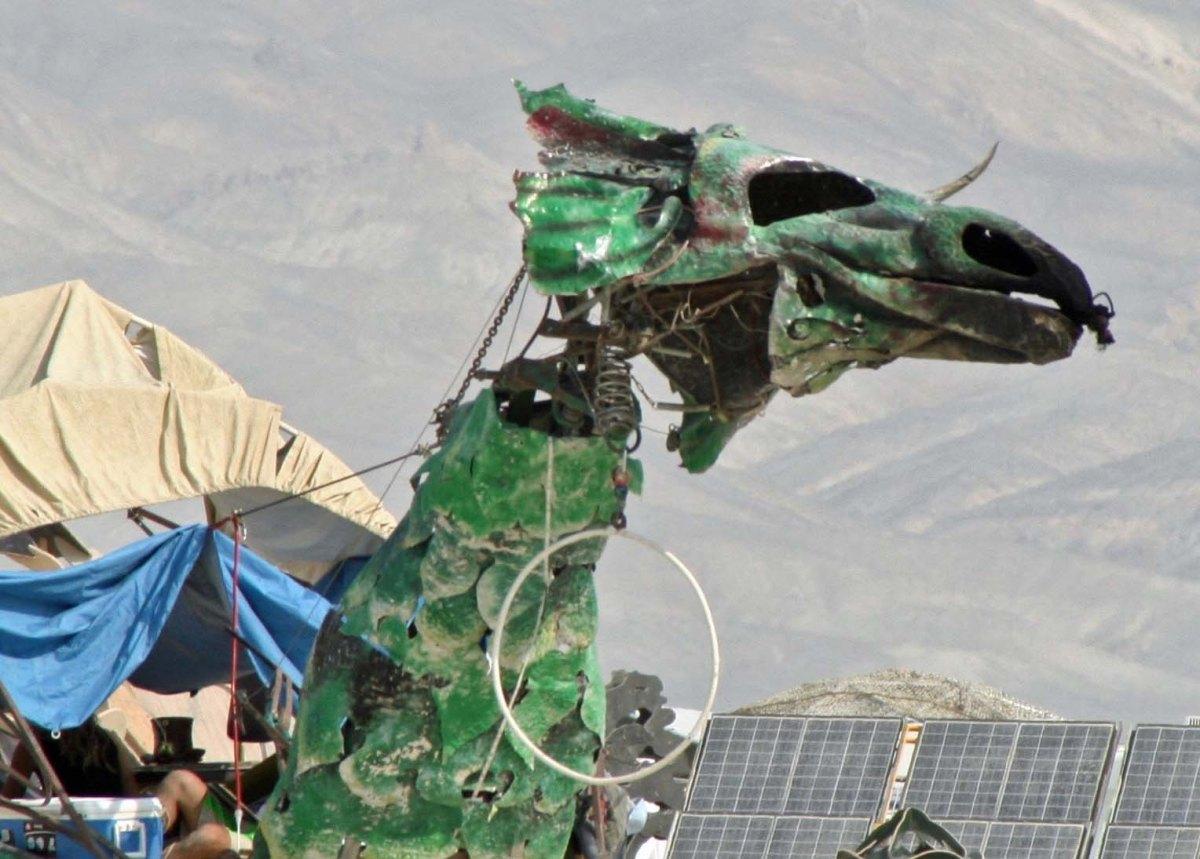Green dragon mutant vehicle at Burning Man.