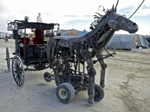 Steampunk mechanical horse mutant vehicle at Burning Man.