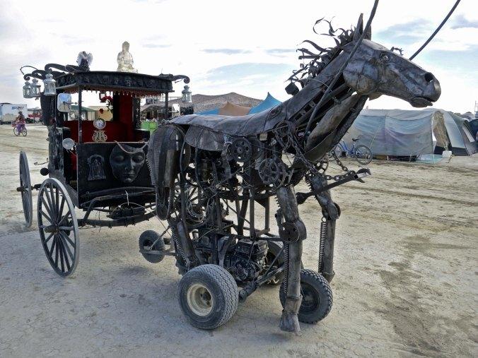 Steampunk mechanical horse mutant vehicle at Burning Man.