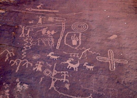 Petroglyphs on Atlatl Rock in Valley of Fire State Park near Las Vegas.