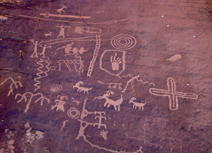 Petroglyphs on Atlatl Rock in Valley of Fire State Park near Las Vegas.