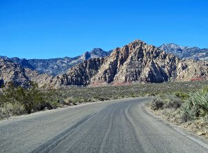 Road through Red Rock Canyon National Conservation Area in southern Nevada.