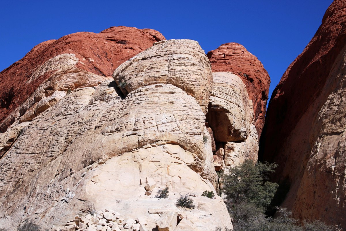 Red and white rock formation in Red Rock Canyon on the edge of Las Vegas.