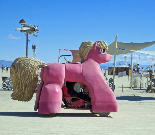 Sparkle Pony Mutant Vehicle at Burning Man.
