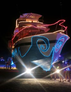 The yacht Christina, a mutant vehicle at Burning Man.