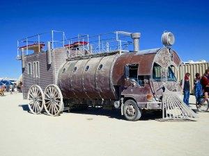 Steam engine Mutant Vehicle at Burning Man.