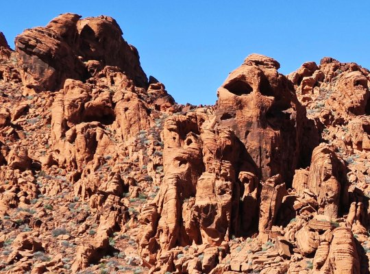 Faces in the rocks at Valley of Fire State Park.