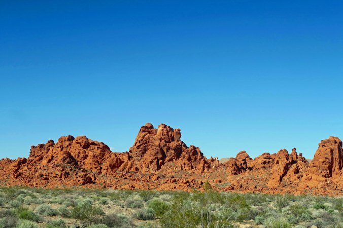 Red sandstone rocks at west entrance to Valley of Fire State Park.