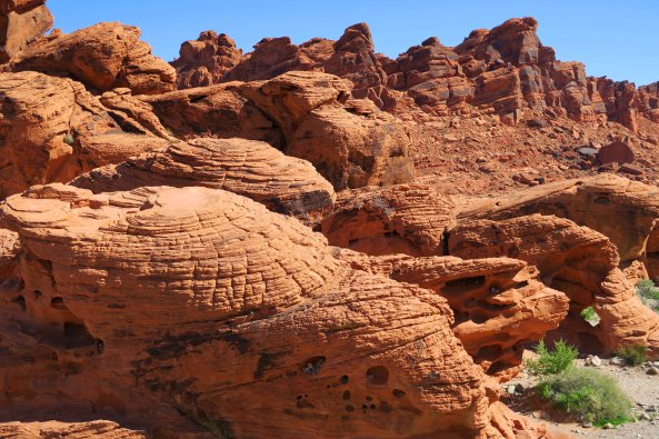 Holes in sandstone rock at Valley of Fire State Park near Las Vegas.