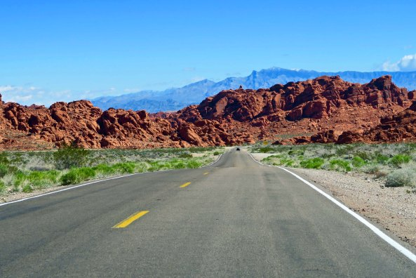 Road into Valley of Fire State Park.