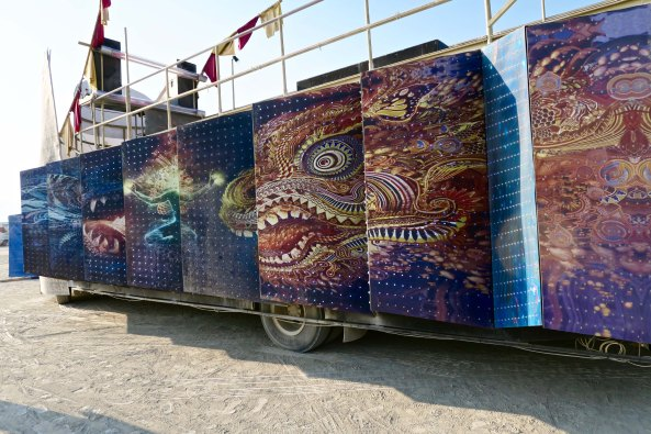 Camp Mystic mutant vehicle side, Burning Man 2017