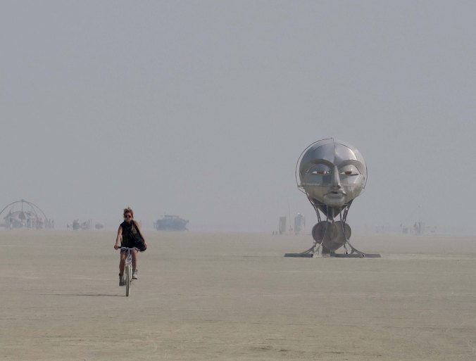 Distant view of Tonglen sculpture at Burning Man 2017