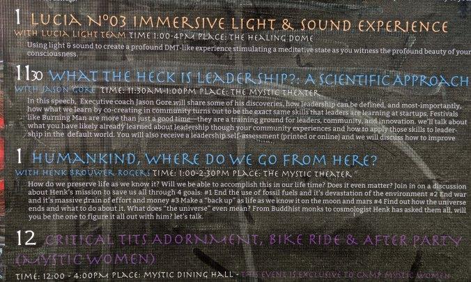 Mystic Camp program, Burning Man 2017