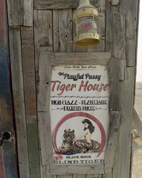 Playful Pussy Tiger House sign at Burning Man 2017