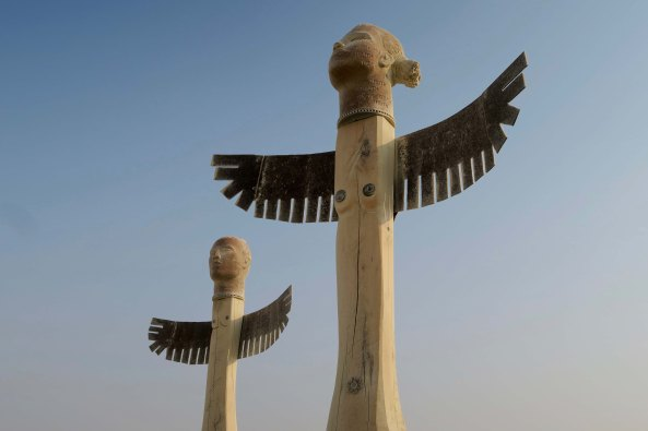 Two Thunderbird sculptures at Burning Man 2017