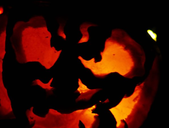 Angry pumpkin at Jack-o-Lantern Spectacular in Rhode Island