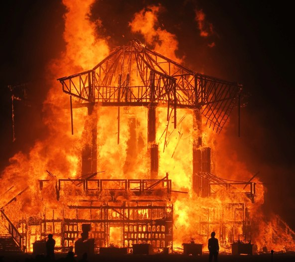 Burning of Temple of Golden Spike at Burning Man 2017