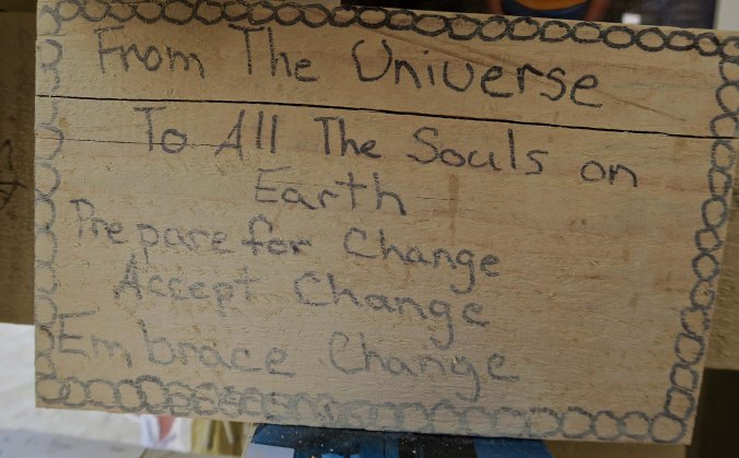 Change sign at Burning Man Temple 2017