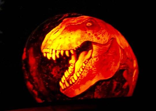 Dinosaur pumpkin at Jack-o-Lantern Spectacular in Providence