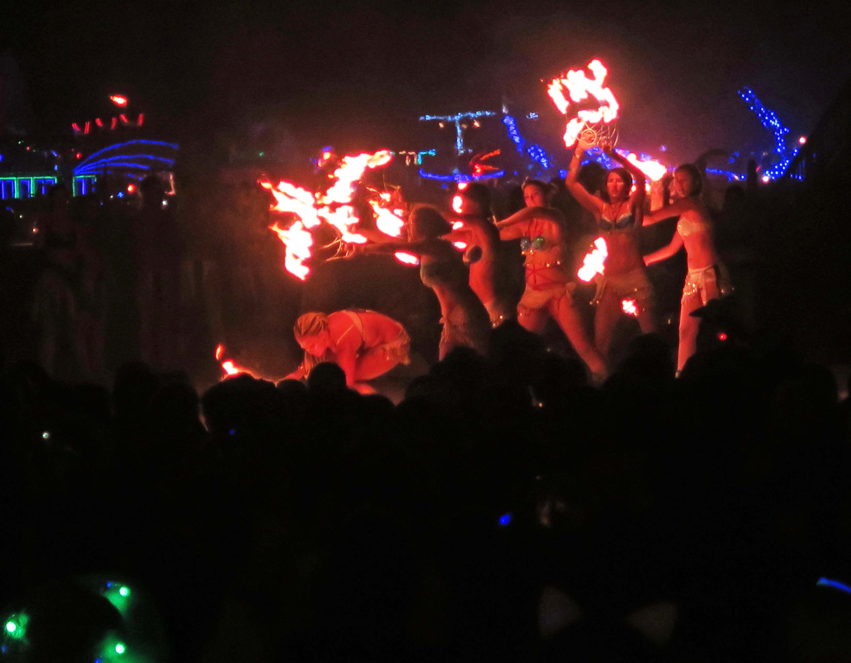 Distant shot of fire dancers, Burning Man 2017