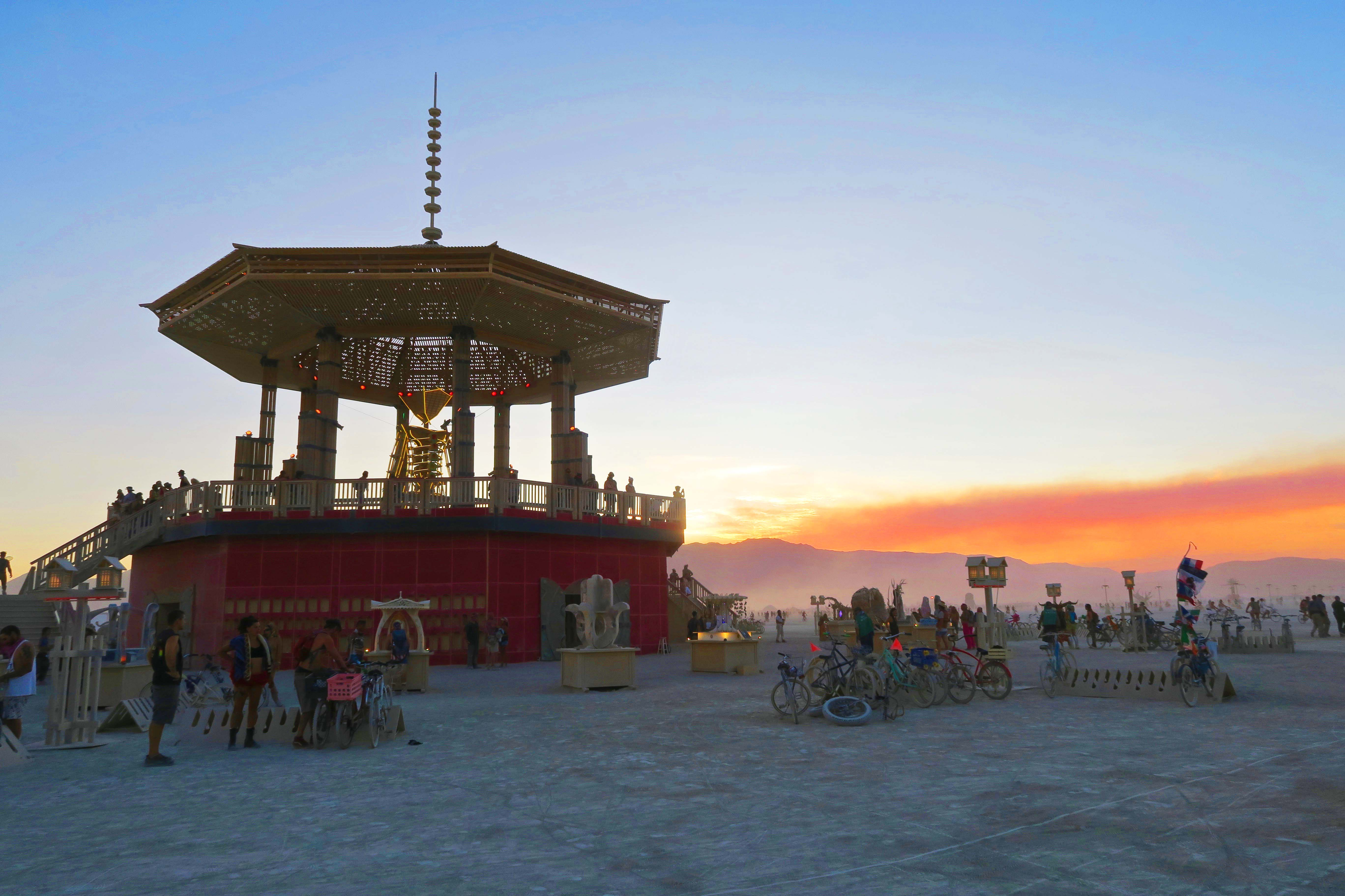 Evening view of Temple of Golden Spike, Burning Man 2017
