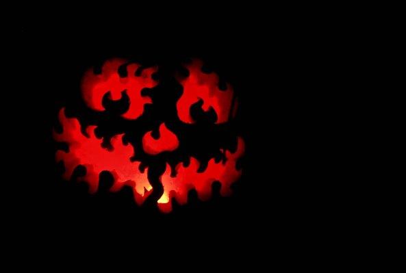 Fiery pumpkin at Jack-o-Lantern Spectacular in Providence