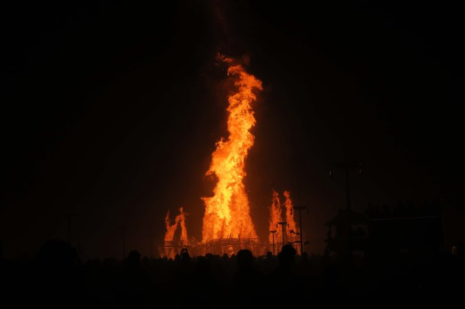 Final stages of Temple burn, Burning Man 2017