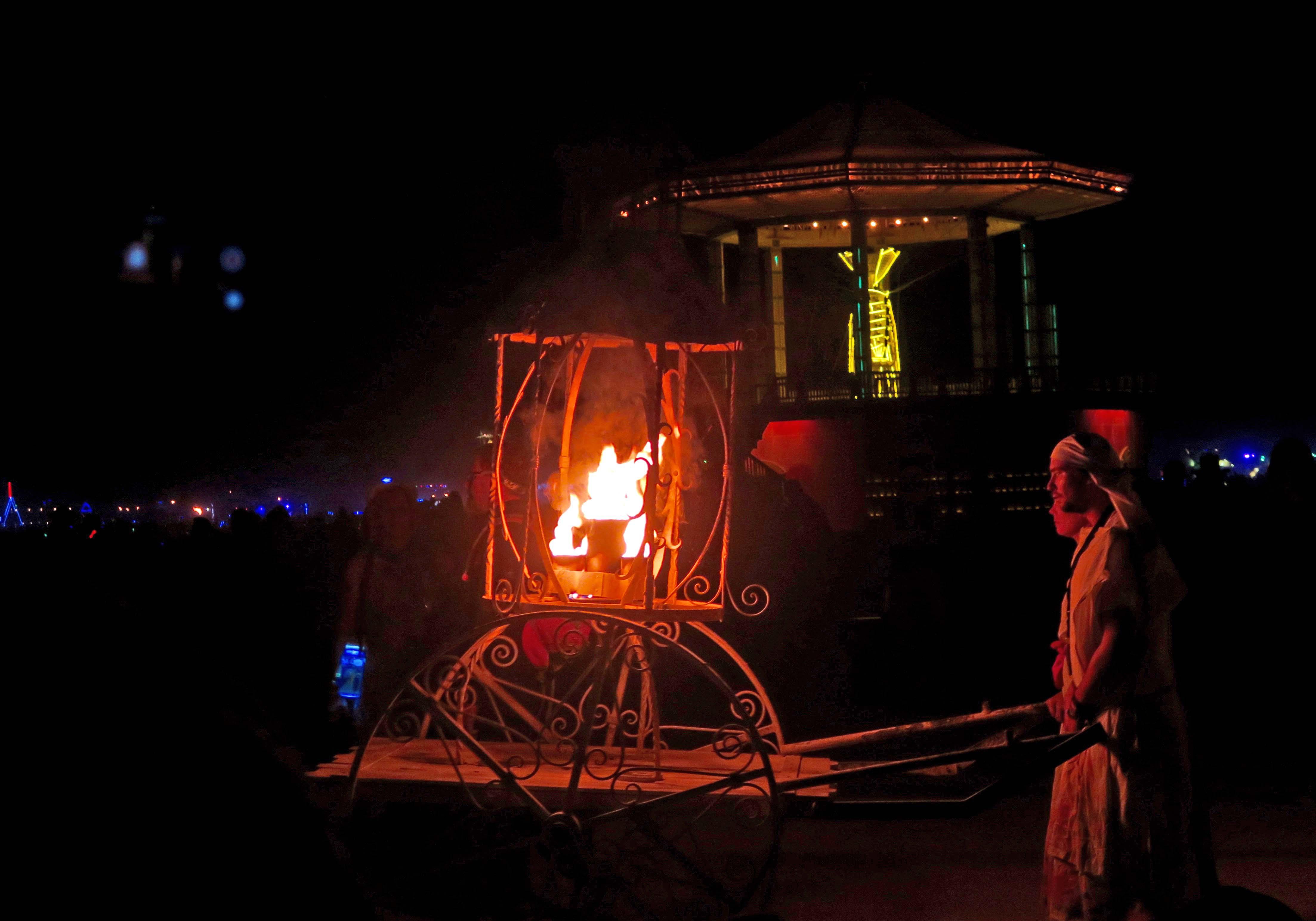 Fire cart on way to light Man at Burning Man 2017