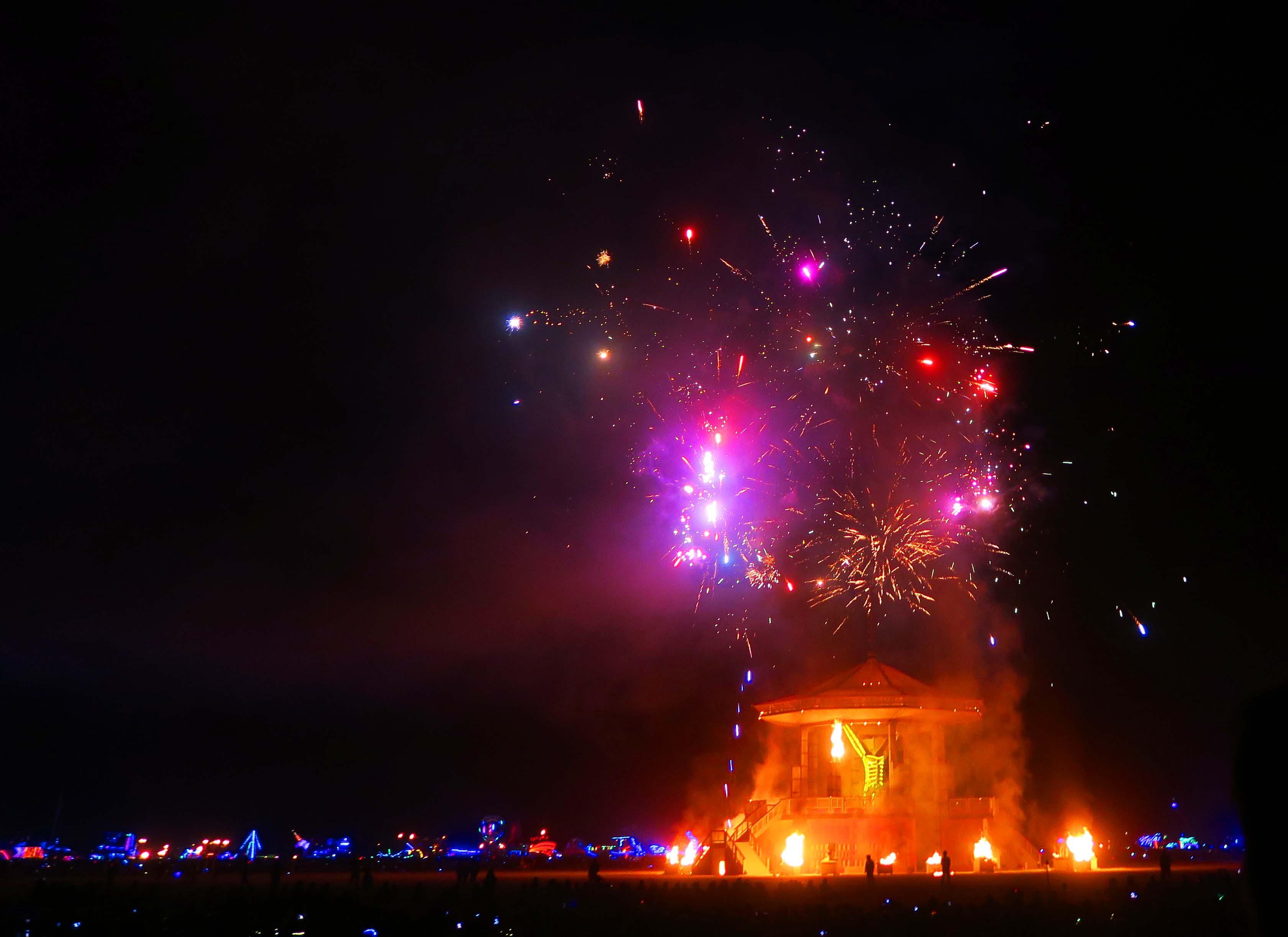 Fireworks on Burn night 3, Burning Man 2017